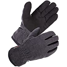 SKYDEERE Winter Glove - Premium Genuine Soft Deerskin Suede Leather and Polar Fleece Glove, with 3M Thinsulate Insulation Suitable for Outdoor Sport and Keep Warm in Cold Weather (Gray)