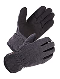 SKYDEERE Winter Work Gloves - Warm Deerskin, Windproof Wool Winter Outdoor Casual and Work Glove for Party, Ski, Running, Driving, Motorcycle and More (Gray Extra Large)