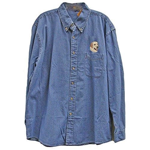 Cherrybrook Dog Breed Embroidered Mens Denim Shirts - X-Large - Denim - Labrador Retriever - Labrador Denim Shirt
