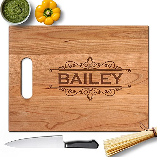Froolu Calligraphic Border extra large wooden chopping board for Name Engraved Birthday Gifts