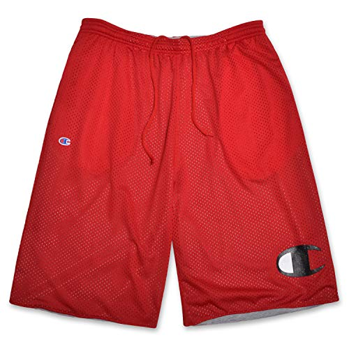 Champion Shorts for Men Big and Tall with Reversible Mesh Cotton and Big C Logo Red ()
