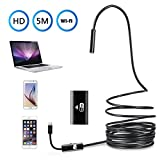 WiFi Endoscope Inspection Camera Borescope 5M Rigid Cable 2.0 Megapixels 6 Leds 8mm 720P IP67 Tube Waterproof HD Snake Camera for iPhone Samsung Andorid and IOS Smartphone AirBook Windows series