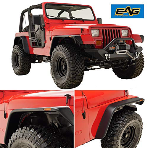 EAG Flat Style Front + Rear Fender Flare LED Side Light Fit for 87-95 Jeep YJ Wrangler