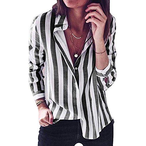 hellomiko Camicia Fashion a Righe Bottoni Colorati Maglietta Ampia T-Shirt Maglietta Donna Girocollo Donna Nero