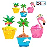 Sakolla Luau Party Supplies Cupcake Toppers Wrappers - (24 Sets) Hawaiian Beach Tropical Pool Decorations Favors - Flamingo/Pineapple/Coconut Palm