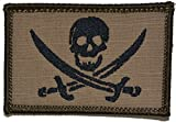 Pirate Jolly Roger 2x3 Morale Patch - Multiple Colors (Coyote Brown with Black)