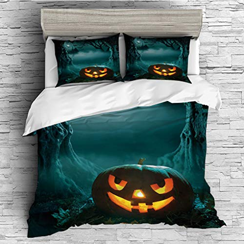 3 Pieces (1 Duvet Cover 2 Pillow Shams)/All Seasons/Home Comforter Bedding Sets Duvet Cover Sets for Adult Kids/Singe/Halloween,Carved Pumpkin in Dark Misty Forest Ancient Trees Gloomy Scenic Horror T ()
