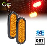 2pc 6' Oval Amber 24 LED Trailer Tail Lights [DOT Certified] [Grommet & Plug Included ] [IP67 Waterproof] Park Turn Trailer Lights for RV Jeep Trucks