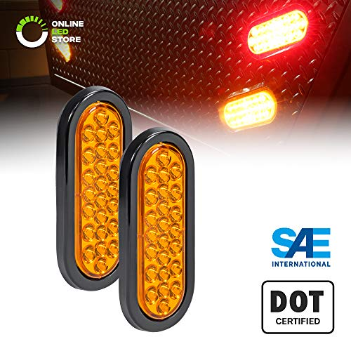 2pc 6 Oval Amber 24 LED Trailer Tail Lights [DOT Certified] [Grommet & Plug Included ] [IP67 Waterproof] Park Turn Trailer Lights for RV Jeep Trucks
