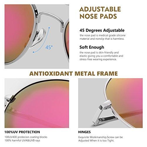 Classique Duduma Premium Uv400 Soleil de Lunettes Femmes Lentilles de argent pour lentille Les en rose avec et Conçues Hommes Mode avec cadre t4rqwt0x