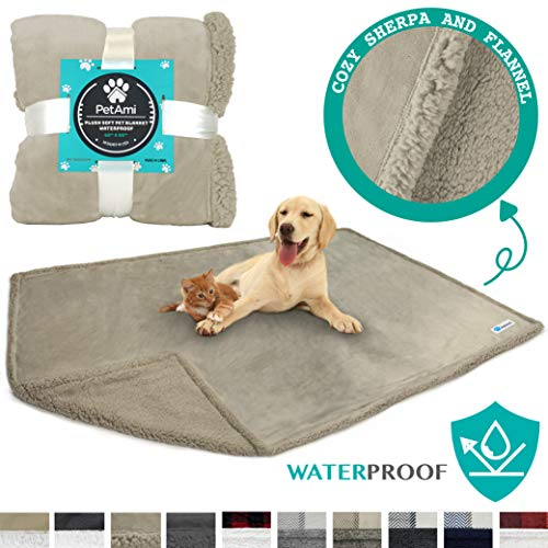 (PetAmi Waterproof Dog Blanket for Bed, Couch, Sofa | Waterproof Dog Bed Cover for Large Dogs, Puppies | Sherpa Fleece Pet Blanket Furniture Protector | Reversible Microfiber | 80 x 60 (Taupe/Taupe))
