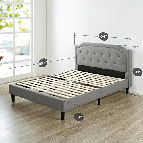 Zinus Upholstered Scalloped Button Tufted Platform Bed with Wooden Slat Support/Design Award Finalist, Queen