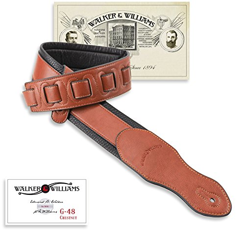 Walker & Williams G-48 Chestnut Brown Guitar Strap with Padded Glove Leather Back