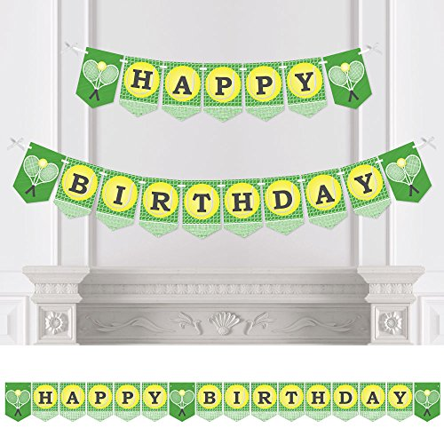 Big Dot of Happiness You Got Served - Tennis - Birthday Party Bunting Banner - Tennis Ball Birthday Party Decorations - Happy Birthday