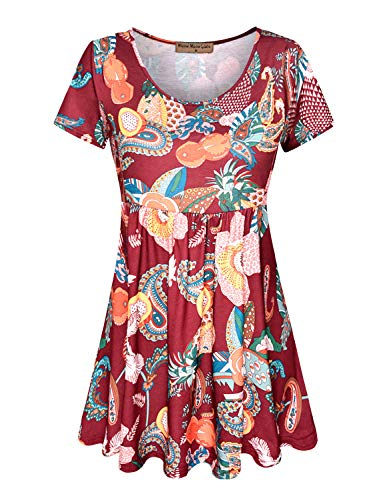 Meow Meow Lace Women's Scoop Neck Short Sleeve Print Tunic Tops Empire Waist Peplum Blouse Burgundy XL ()