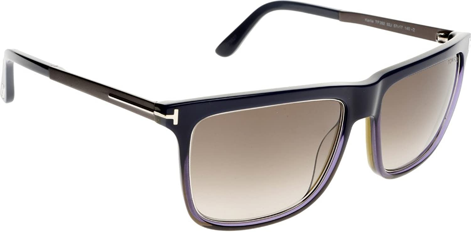 0509eded57187 Amazon.com  Tom Ford M-SG-2156 FT0392 92J Karlie-Blue-Brown Mens  Sunglasses  44  57-17-140 mm  Clothing