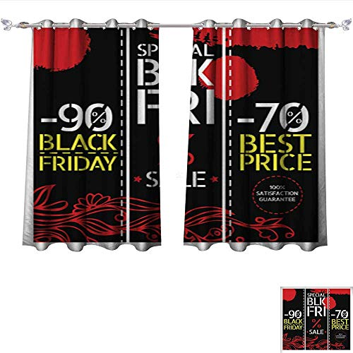 Waterproof Window Curtain red and Black 1 Tie Up Window Drapes Living Room W55 x L63/Pair (Leigh Silk Tie)