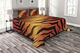 Lunarable Animal Print Bedspread Set Queen Size, Abstract Tiger Skin Pattern Wild Nature Themed Vibrant Illustration, Decorative Quilted 3 Piece Coverlet Set with 2 Pillow Shams, Orange Yellow Black