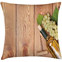 Ambesonne Winery Throw Pillow Cushion Cover, Wine Bottle and Grapes on Wooden Table Background Romantic Italian Dinner Theme, Decorative Square Accent Pillow Case, 16 X 16 Inches, Green Brown