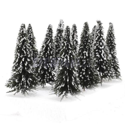 Shalleen 10 Lot TREES FOR MODEL RAILROAD Street Park Winter White Snow CHRISTMAS SCENES