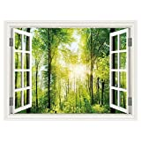 """excellent abstract wall mural  3D Wall Mural for Windowless Basement Green Forest Sunshine Landscape Open Window Views Pictures Decals,36""""x48"""""""