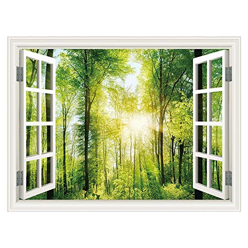 "SUMGAR 3D Wallpaper for Windowless Basement Green Forest Sunshine Landscape Mural Wall Art Window Views Decals,36""x48"""