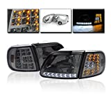1997-2003 Ford F-150 / 1997-2002 Expedition LED Crystal Headlights with Corner Lights + 8000K HID Conversion Kit - Smoke