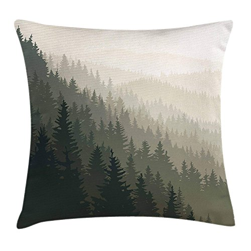(WEWELA Forest Throw Pillow Cushion Cover, Northern Parts of The World with Coniferous Trees Scandinavian Woodland, Decorative Square Accent Pillow Case, 18 X 18 inches, Cream Tan Dark)