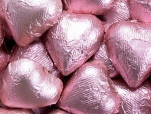 Light Pink Foiled Milk Chocolate Hearts 5LB Bag by The Nutty Fruit House