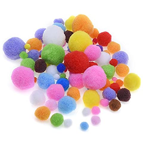 Blulu Assorted Colors Craft Pom Poms for Craft Making and Hobby Supplies, 200 Pieces