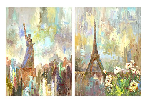 HLJ ART Abstract 2 Panel Paris and Statue of Liberty Canvas Print Wall Art Painting For Living Room Decor And Modern Home Decorations (Wood Framed)