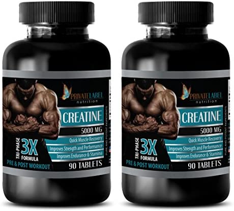 Muscle Building Supplements for Men – CREATINE TRI-Phase – 3X Formula – PRE Post Workout – creatine monohydrate Pills – 2 Bottles 180 Tablets