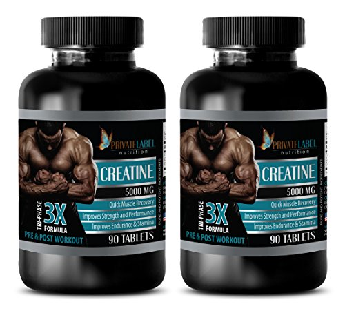 muscle gain pills for men - CREATINE TRI-PHASE - 3X FORMULA - PRE & POST WORKOUT - creatine natural - 2 Bottles (180 Tablets)