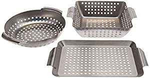 Yukon Glory 3-Piece Mini BBQ Grill Baskets Accessory Set for Grilling Vegetables, Chicken Pieces etc