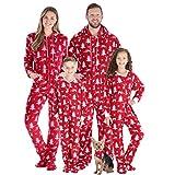 SleepytimePJs Family Matching Fleece Cranberry Deer Onesie Hooded Footed Pajama, Cranberry Deer, Toddler 3T (Color: Kids-cranberry Deer, Tamaño: 3T)