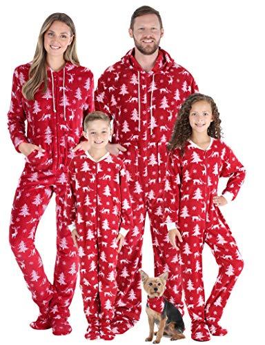 SleepytimePJs Matching Family Christmas Pajama Sets, Cranberry Deer Onesie, Kids (STM17-3027-K-10)