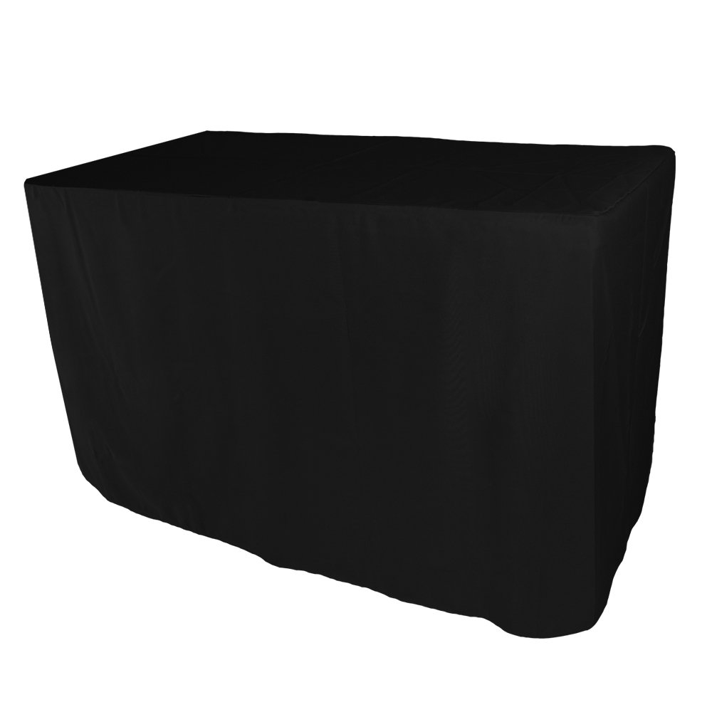Iveecky 5FT Fitted Rectangular Polyester Wedding Restaurant Banquet Party Tablecloth Black