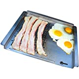 Cave Tools BBQ Grill Pan Mat - Stainless Steel Grilling Tray Grid For Cooking Meat & Griddle Side For Barbecue Breakfast or Vegetables - Topper Basket Accessories For Gas Charcoal Oven or Smokers by