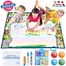 JVIGUE Large Water Doodle Mat - Portable Magic Water Drawing Mat Pad with 3 Water Pens and Drawing Booklet, Kids Educational Travel Toys Gift for Boy Girl Toddlers Age 1- 6, 36.6 X 25.6 Inch