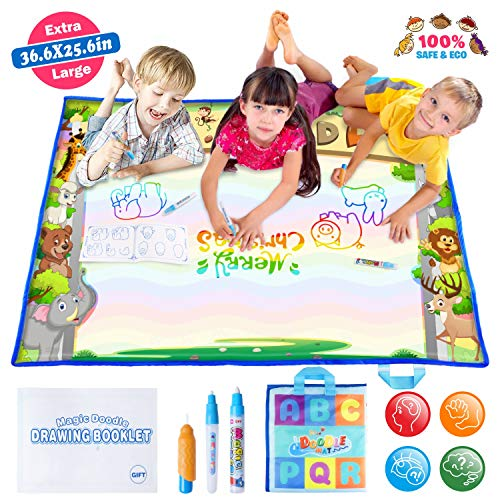 (JVIGUE Large Water Doodle Mat - Portable Magic Water Drawing Mat Pad with 3 Water Pens and Drawing Booklet, Kids Educational Travel Toys Gift for Boy Girl Toddlers Age 1- 6, 36.6 X 25.6 Inch)