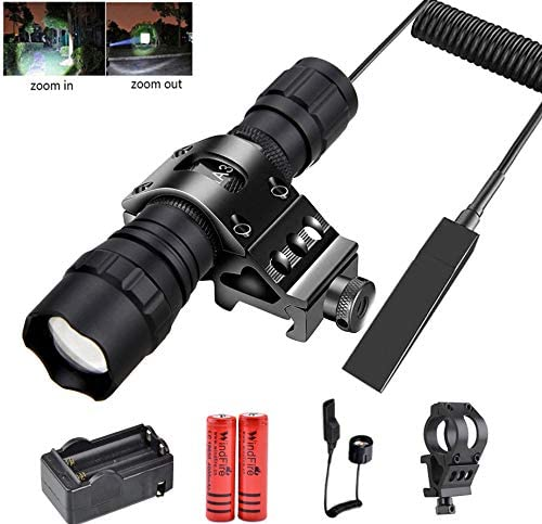 WINDFIRE LED Tactical Flashlight Rail Flashlight Mount Super Bright 1200Lumens Zoomable Hunting Flashlight with 45 Degree Picatinny Mount Rail,Remote Pressure Switch,Rechargeable Batteries