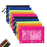 3 Ring Zippered Binder Pencil Pouch Case, Clear Color Pencil Case for Binder, Mcgradyxm Pencil Bags Pouches Gift with Zipper for Kids School (Colorful, 10 Pack)