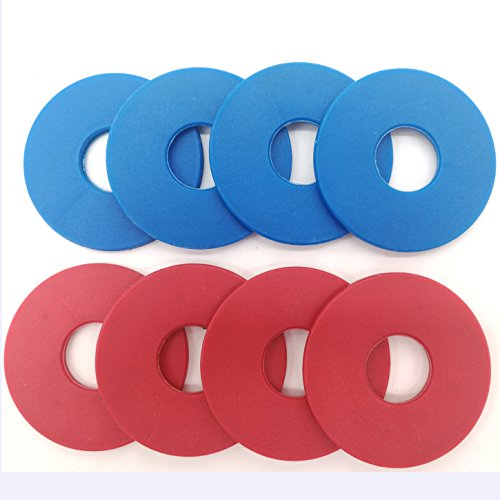 SPORT BEATS Washer Sets for Washer Toss - Replacement WasherKit of 8 Washers -Plastic Coated Steel Washers (Red and Blue)