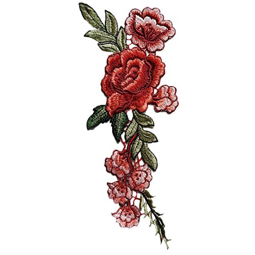 Sinwo 2PC DIY Embroidered Roses Floral Collar Sew Patch Sticker Applique Badge Accessories (Diy Hippy Costume)