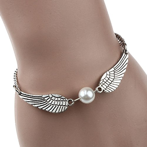 Price comparison product image Yoyorule Silver Infinity Retro Pearl Angel Wings Jewelry Dove Peace Bracelet