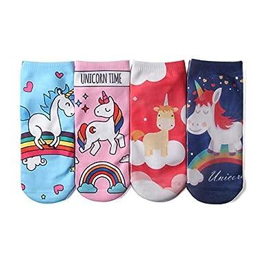 Gysad 1 par Calcetines de mujer Patr/ón de unicornio Calcetines de mujer divertidos Suave y confortable Calcetines cortos mujer Transpirable Calcetines mujer divertidos cortos