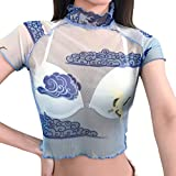 Naladoo New Women Sexy Elegant T-Shirt Transparent Short Sleeve Tank Tops Blouse Blue