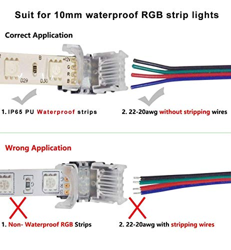 10 Pack 4 Pin LED Connector for Waterproof 10mm RGB 5050 LED Strip Lights, Strip to Wire Quick Connection Without Stripping, Include UL Listed 16.4ft 22 Gauge 4 Conductor Extension Cable by SUPERNIGHT (Image #6)