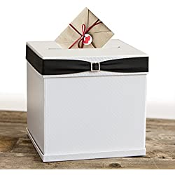 "Merry Expressions - White Gift Card Box with 7 Gorgeous Ribbon Colors and Rhinestone Buckle, 10""x10"" Large, Textured Elegant Finish - for Weddings, Birthdays, Graduations, Bridal/Baby Showers & More"