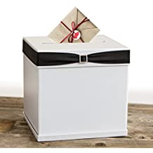 """Merry Expressions - White Gift Card Box with 7 Ribbon Colors and Rhinestone Buckle, 10""""x10"""" Large, Textured Elegant Finish - Perfect for Weddings, Birthdays, Graduations, Bridal & Baby Showers"""